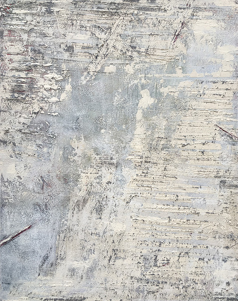 """Hewn 1"" (oil, cold wax, and ash on panel) by Jerry McLaughlin"