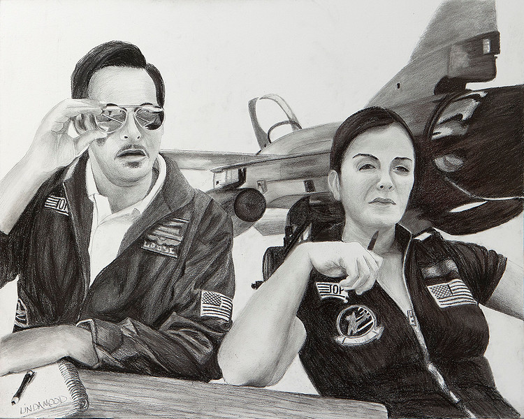 """Top Guns"" (graphite on cradled board) by Patsy Lindamood"
