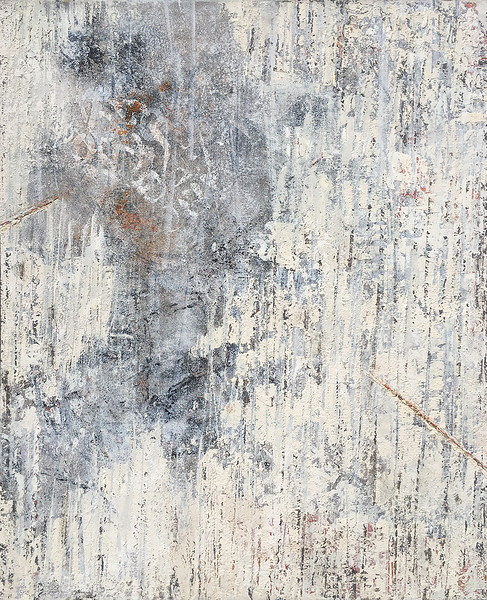 """Hewn 2""  (oil, cold wax, and ash on panel) by Jerry McLaughlin"
