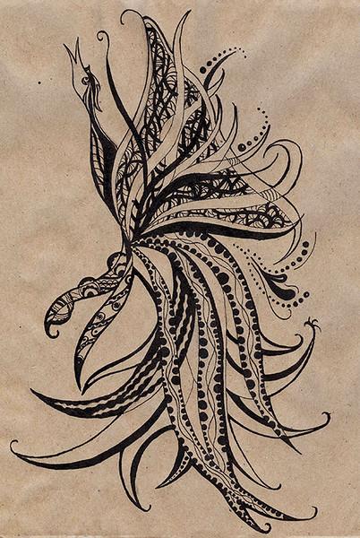 "'The Multidimensional Bird"" (ink) by Veronika Abramova"
