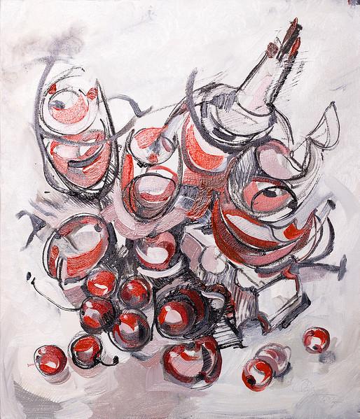"""Wine cellar"" (oil, charcoal, canvas, wooden base) by Olya Kartavaya"