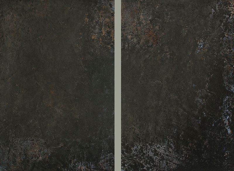 """""""In the Carbide Mist (diptych)"""" (oil, cold wax, and ash on panel) by Jerry McLaughlin"""