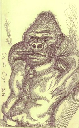 """Business Gorilla"" (pen and ink) by Christopher Chung"
