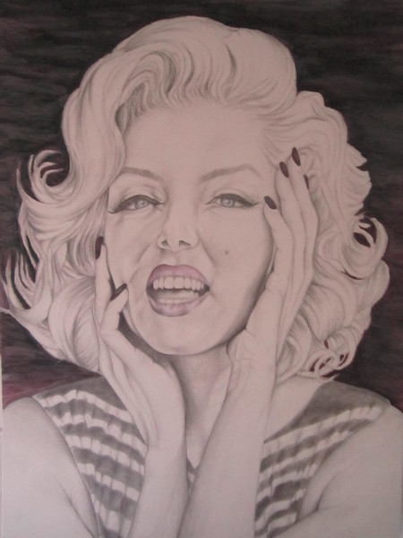 """Marilyn Monroe"" (graphite, watercolor) by Sheren khamisi"