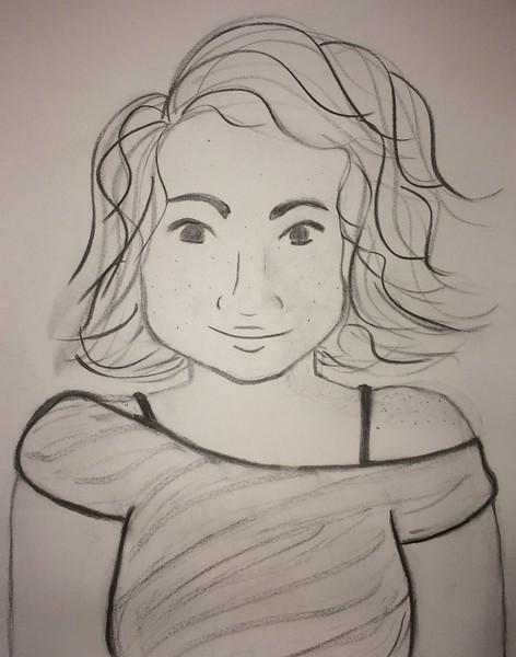 """Self Portrait"" (charcoal) by Anne Bewley"