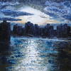 """Nightfall in Tropic Harbor"" (oil) by Marie T Harris"