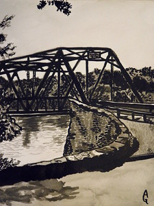 """Frenchtown New Jersey Bridge"" (india ink) by Ali Graves"