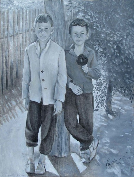 """Сhildhood"" (oil on canvas) by Aleksandr Kurganov"