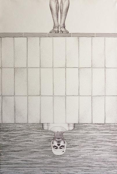 """Reflection"" (pen and ink on paper) by Ekaterina Blinova"