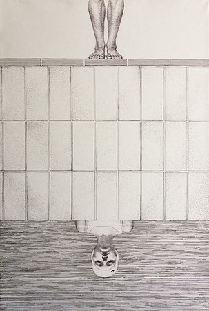 """Reflection"" (pen and ink on paper) by Ekaterina Blinova"