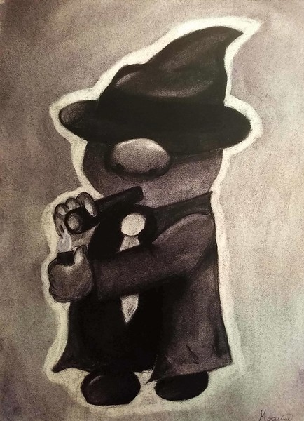 """Mafia Gnome"" (charcoal) by Erin Landrum"