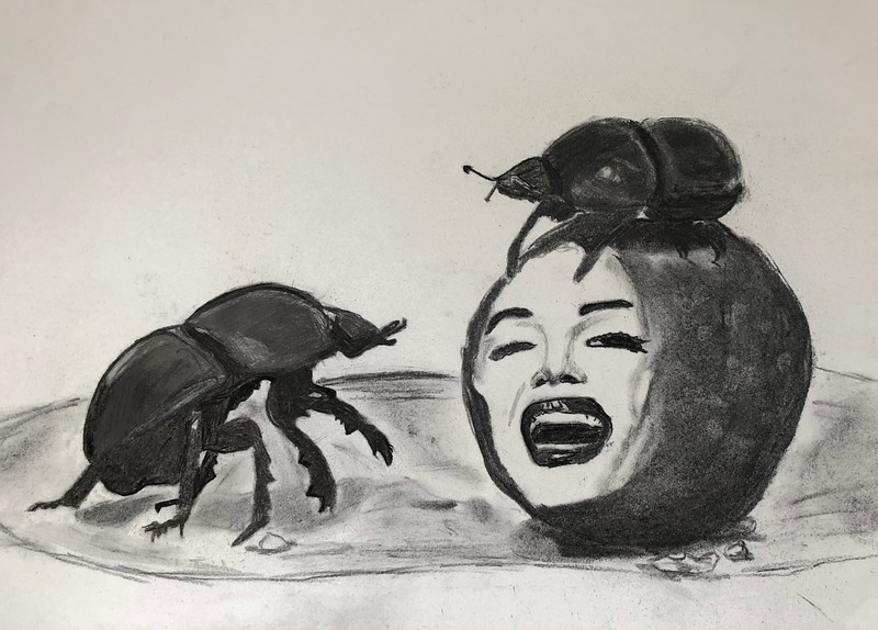 """Biopunk 2 ""Marylin"""" (charcoal and pencil on paper) by Nikita Chugunov"