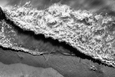 Pierport Waves and Beach Aerial in Black and White