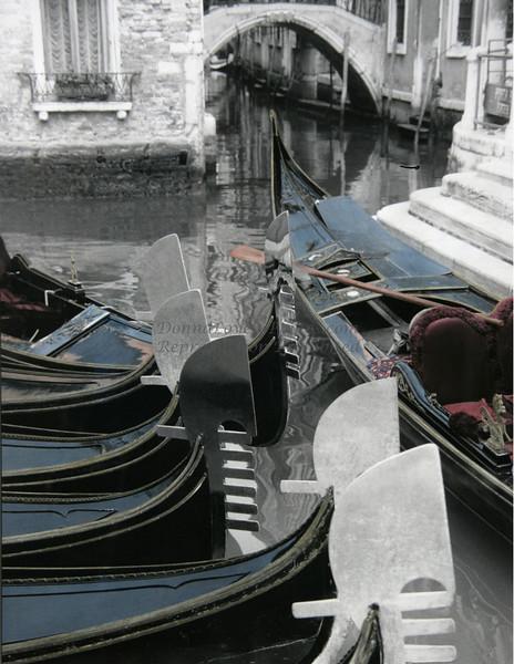 """""""Arch Bridge and Gondolas,"""" hand colored B&W photo"""