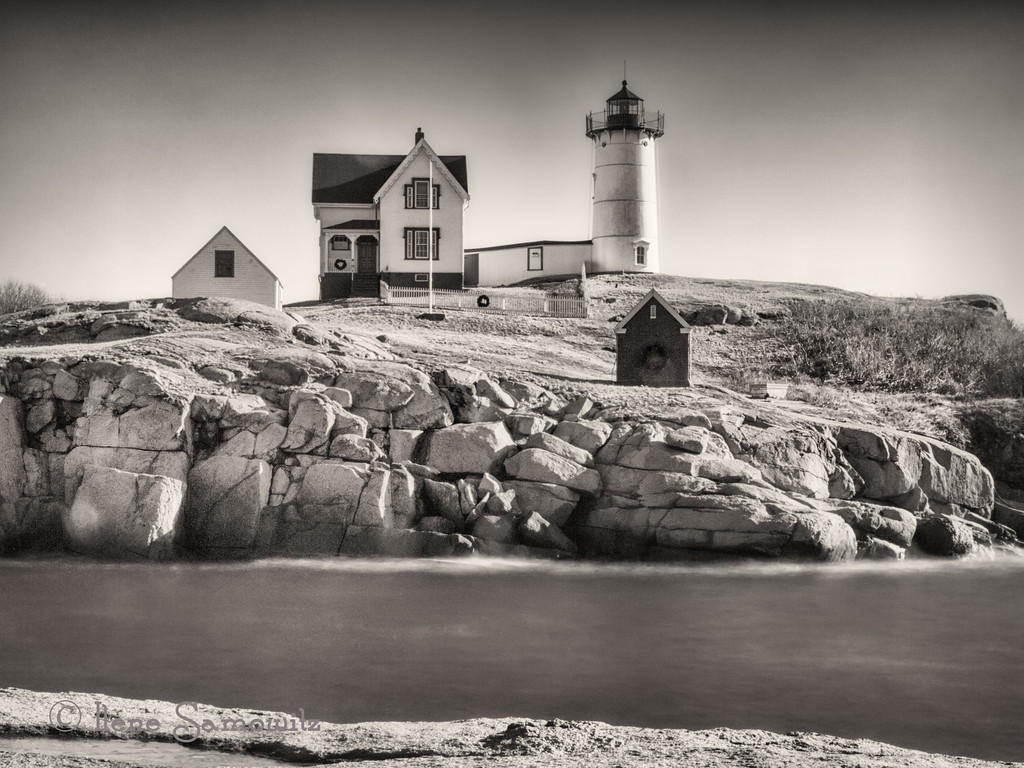 12-18-12 Nubble Lighthouse, York, Maine. This image was a 20 sec exposure.  I used a 10 stop ND filter.  I was wishing for clouds.