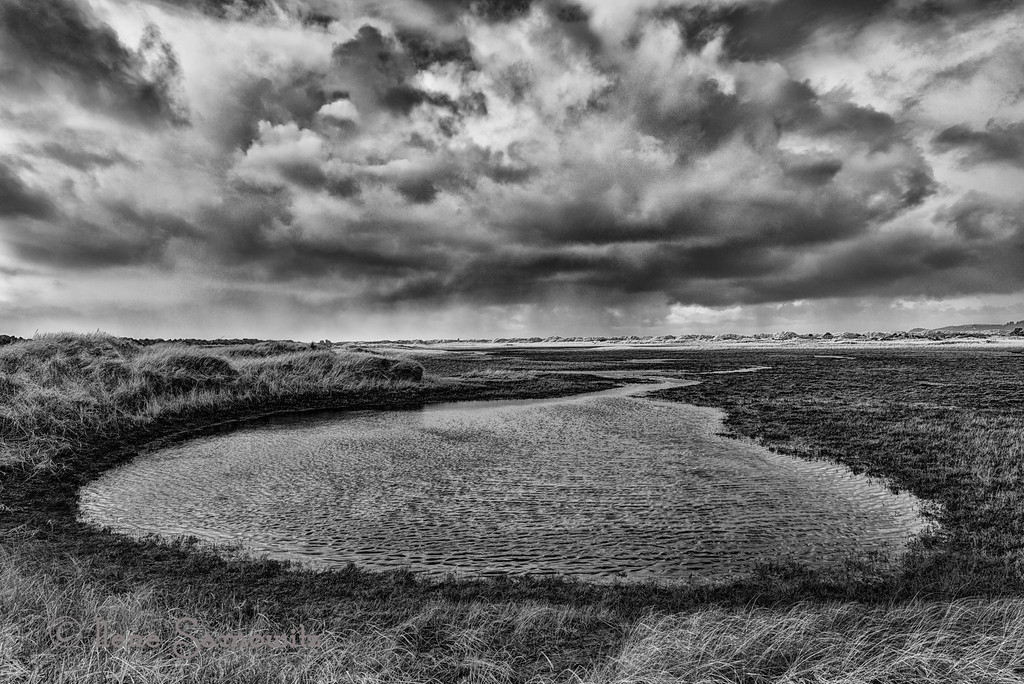12-28-12 Storm approaching at the South Jetty of the Columba River.  This is a black and white conversion of an earlier shot.<br /> <br /> Critiques Welcome.