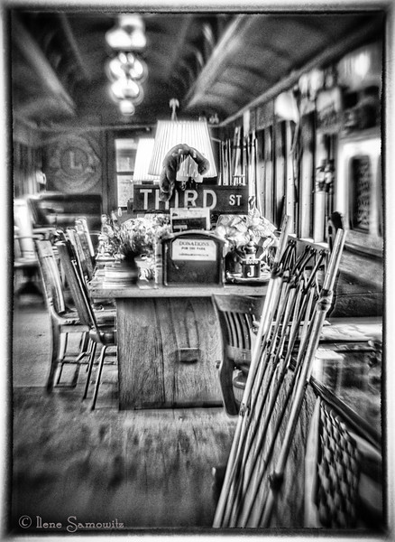 Garibaldi Steam Locomotive Dining Car in Black and White