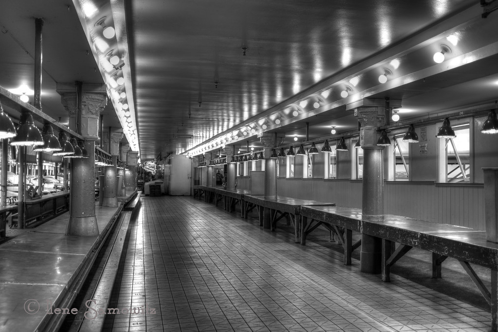 """8-2-13 Evening at the Deserted Market - this is a black and white Hdr that was created in photomatix pro by merging 3 jpegs created in the Fuji x100s in B+W with red filter mode.  This camera is so much fun and lends itself to creative experimentation.<br /> <br /> Terry asked me if I ever took a shot for the top of the ferris wheel and the answer is a big """"NO"""".  It would take someone paying me a lot of money to get on the ride although I am fascinated by it."""