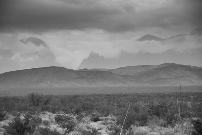 Desert to mountains in Black and White