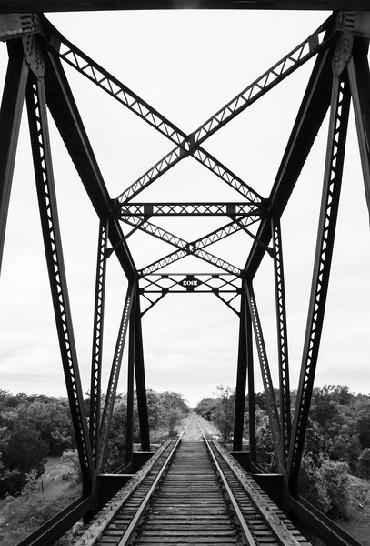 Old railroad bridge in black and white