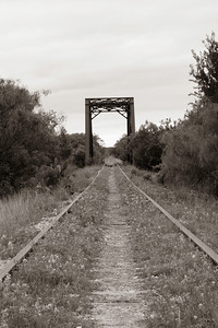 Old railroad bridge in Sepia tone