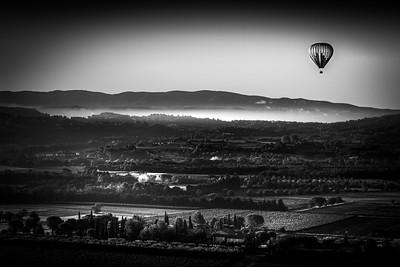 hot air balloon over Provence