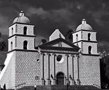 Santa Barbara Mission with Ominous Sky