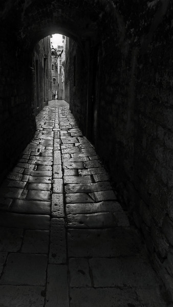 An ancient alleyway in Diocletian's Palace, Split, Croatia, 2011.