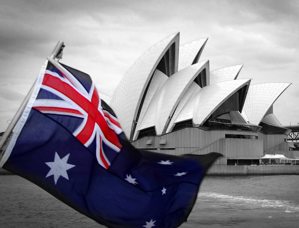 Sydney Opera House with Australian flag
