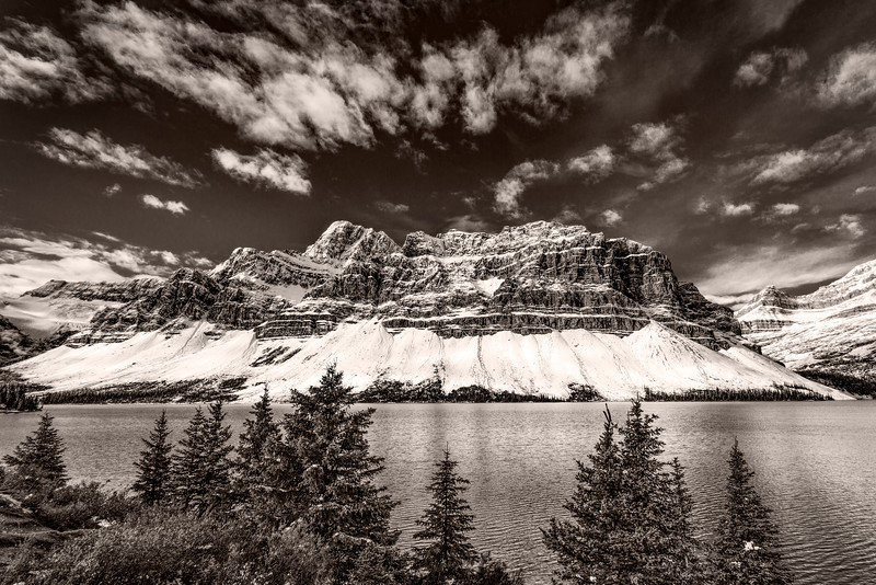 Bow Lake Black and White, Banff National Park, Alberta, Canada