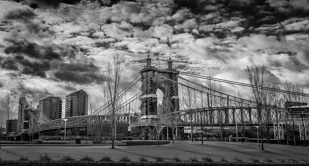 Winter Day Roebling Suspension Bridge