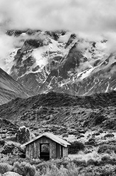 Old cabin, taken along the Hooker Valley Track.  Aoraki National Park.<br /> South Island, New Zealand