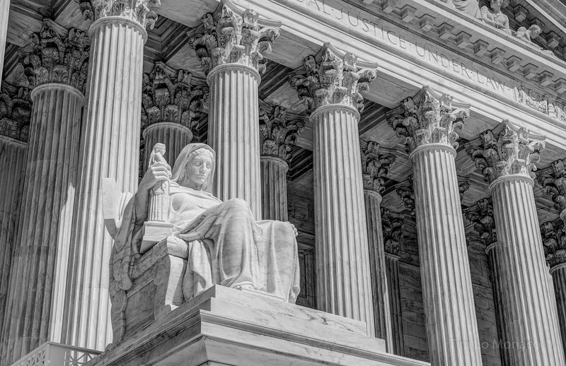 Contemplation of Justice Statue at the Supreme Court [V2] [BW]