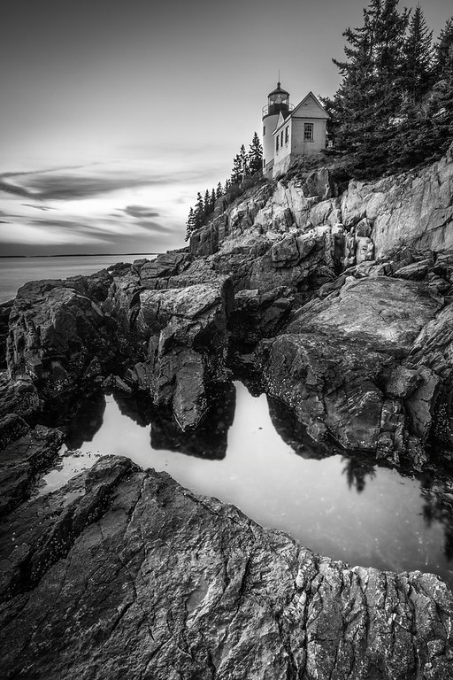 Bass Harbor Head Light Black and White