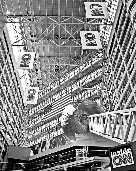 Inside CNN Atlanta Black and White Photograph