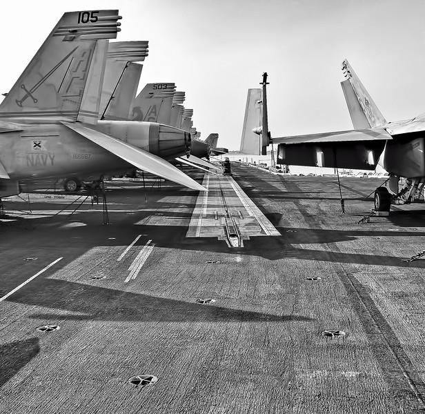 Catapult View F/A-18 Hornets on Flight Deck of Carrier USS Harry Truman (CVN 75).