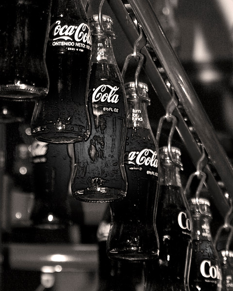 Ice cold Coca-Cola Black and White Photography