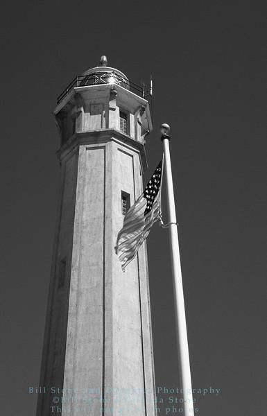Alcatraz Lighthouse black and white