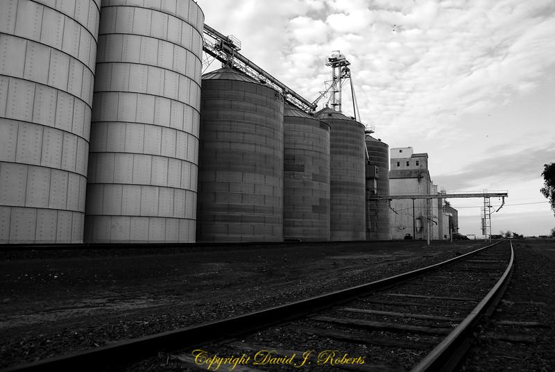 Grain elevators and rail line, Hartline Washington