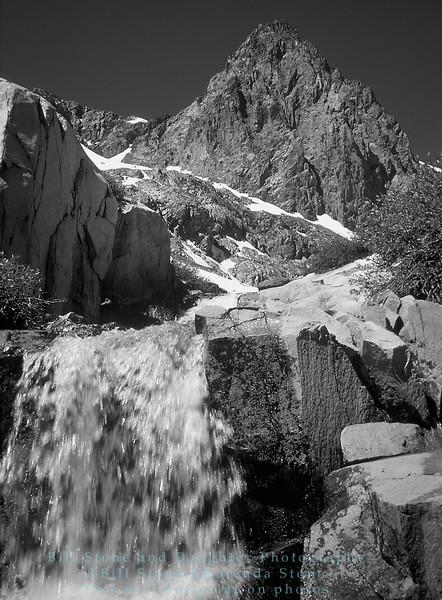 Waterfall and peak