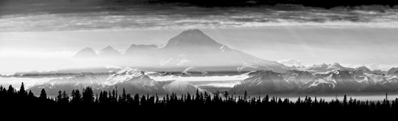 Panorama of Mt. Redoubt as seen from high above Homer.