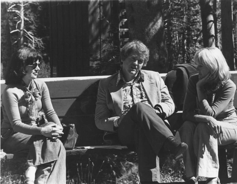 Screenwriters Jovancka Bach, Tom Rickman, Elli Goodwin. 1976. [photo credit: Barbara Hall]