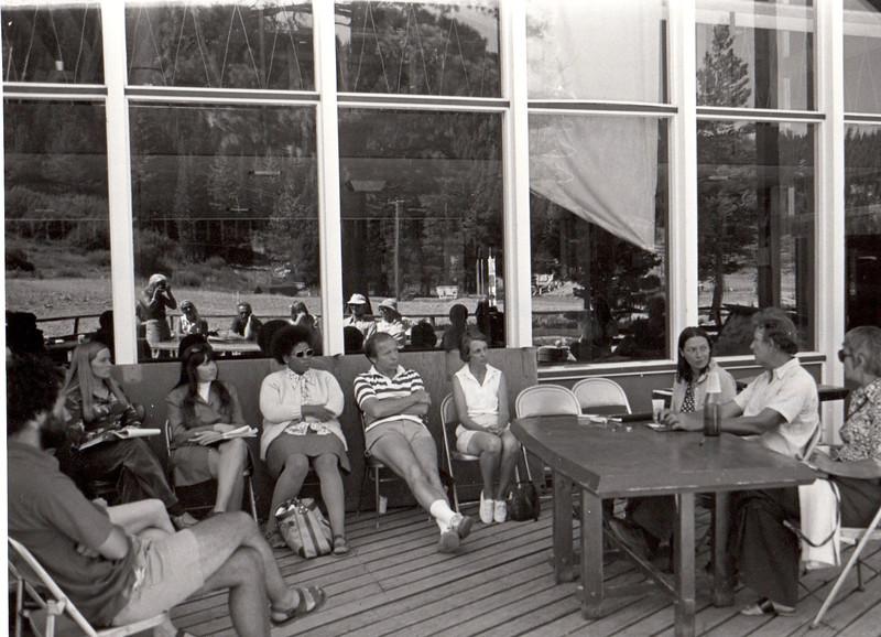Fiction panel with Phyllis Seidel, Max Steele, Alice Adams. 1974.  Barbara Hall, photographer, seen in window reflection.