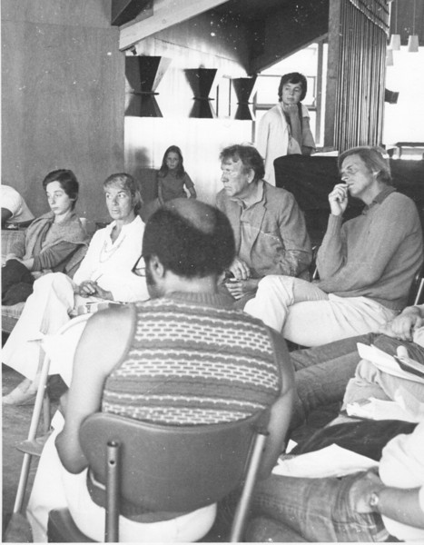 Alice Adams (in white), Max Steele, George Plimpton, Edwina Leggett. Roscoe Lee Brown (back). 1974. [photo credit: Tracy Hall]