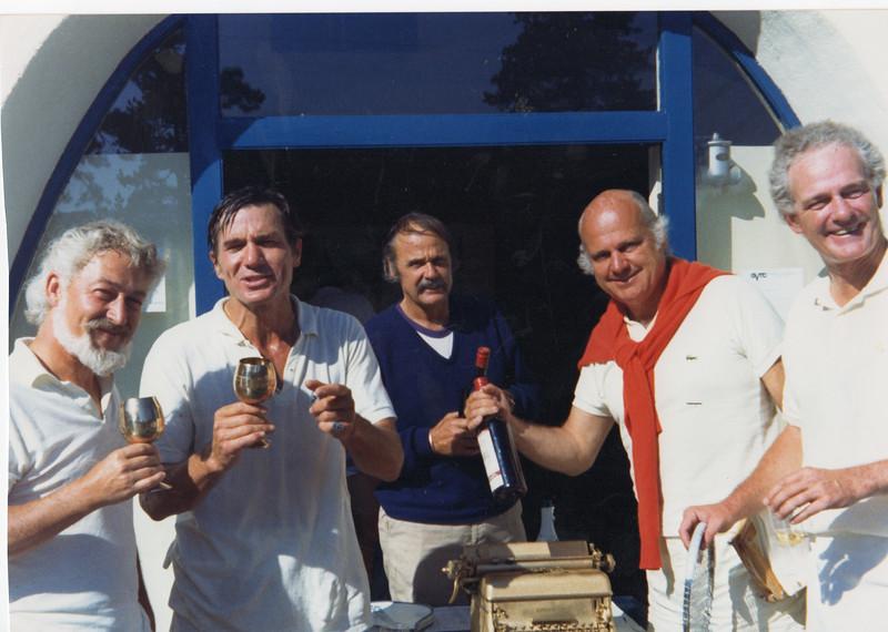 Golden typewriter tournament. Don Congdon, Galway Kinnell, Oakley Hall, Barnaby Conrad, Blair Fuller. 1972.