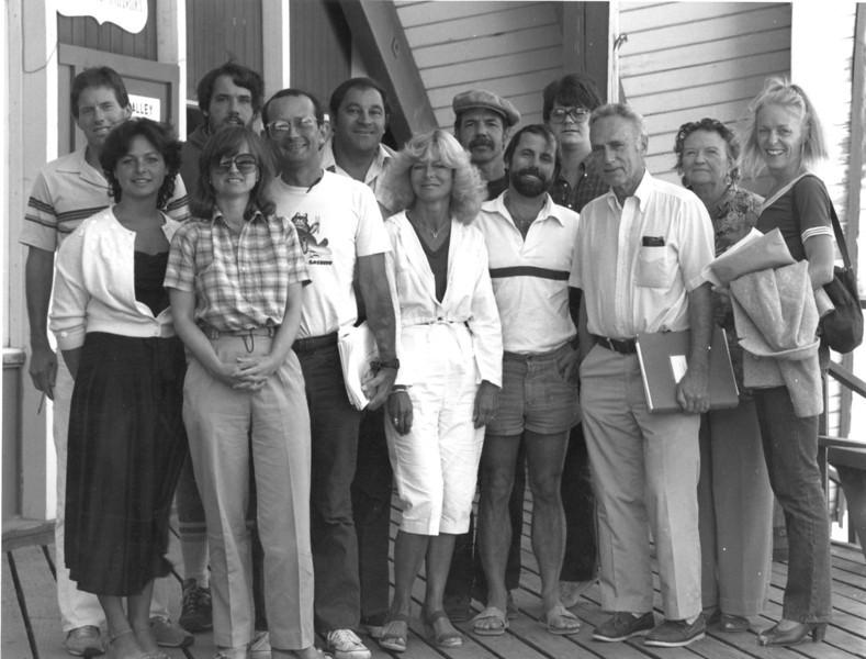 1982: David Perlman (workshop leader); far left, Elizabeth Rosner; rear, Gardner Mein; far right, Rhoda Huffey.