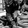 Checking Tire Pressures Prior to Indy Race Barber Motorsports Park Alabama