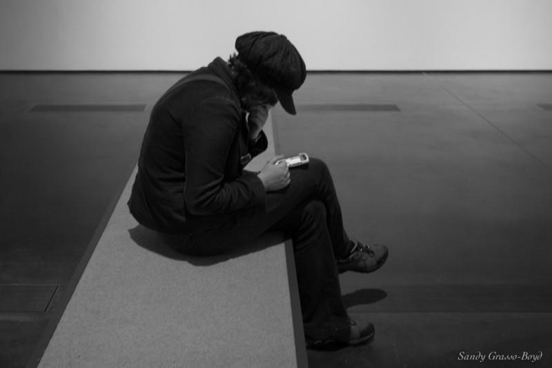 focused museum visitor