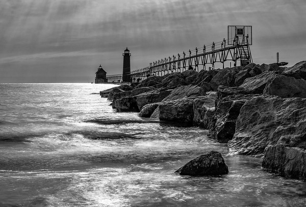 Grand Haven Sunset in Black and White