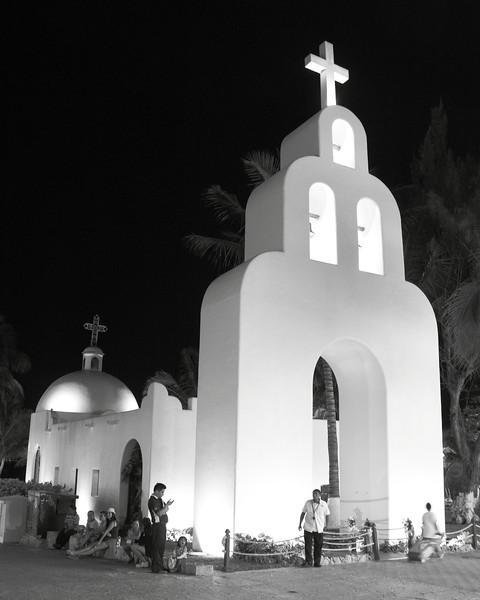 White Church at Night, Playa Del Carmen, Mexico